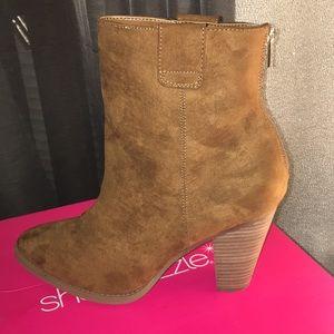 Shoe Dazzle Marcine Booties Cognac 11 New